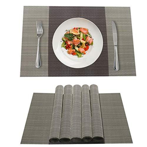 antimacchia Antiscivolo Isolamento Termico Set di 6 tovagliette in Tessuto vinilico PVC Decorazione per Tavolo da Pranzo RICHTOP