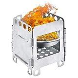 Wilxaw Holzofen Tragbar Mini, Holzvergaser Kocher Faltbar, Camping Kocher Holz Klein, Holzherd Edelstahl Winddicht für Picknick BBQ