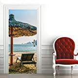 Silla de playa 3Dcartel de puerta autoadhesivo, imagen de pared autoadhesiva DIY, papel tapiz impermeable de PVC-77cm(W)*200cm(H)