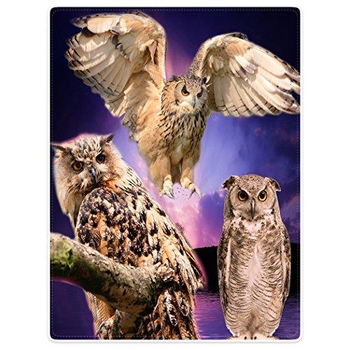 YISUMEI Tapissery 150x200 cm Kuscheldecken Sanft Flanell Weich Fleecedecke Bettüberwurf Eule Owl lila