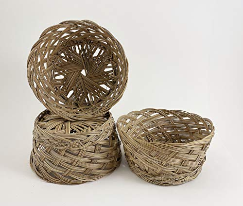 CalCastle Round Gift Baskets, Woven Bread Roll Baskets, Food Serving Baskets, Natural Coco Midrib Material (7' - 3 PCS)