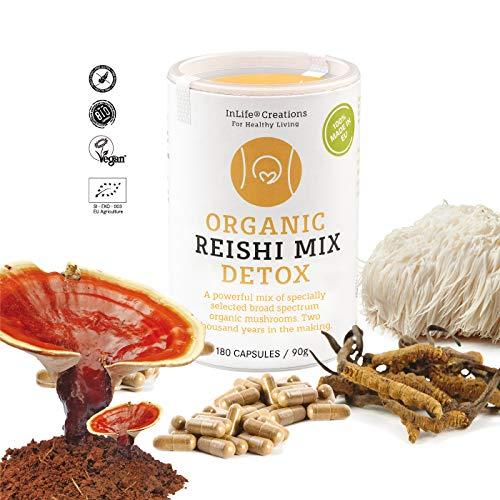 Organic Reishi Detox 7 Mix | Powerful Mix of Specially Selected Broad Spectrum Organic Mushrooms | Grown 100% in EU | 180 caps x 500mg | Vegan + GF | Eco Packaging | No 'Non - EU Agriculture' - New