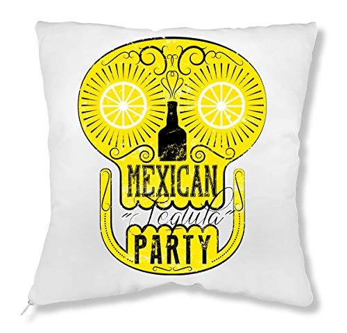 Mexicaanse Party Crazy Skull Drinks Tequila in Summertime Simple Shape kussen
