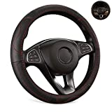 Bestobal Car Leather Steering Wheel Cover Universal 15 inch for Men Women Black Color with Red Lines, Durable, Anti-Slip, Odor-Free
