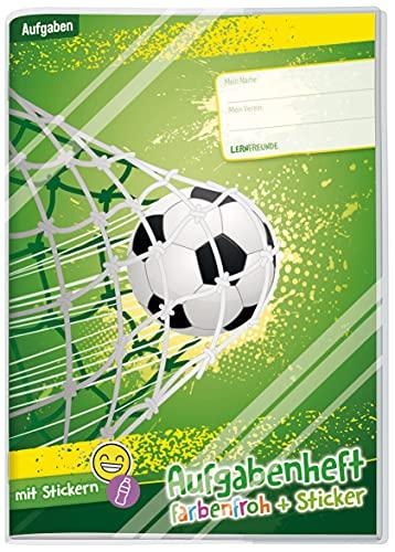 Cuaderno de tareas (A5), diseño de fútbol, con texto en alemán, sin fecha fija, incluye sobre y pegatina