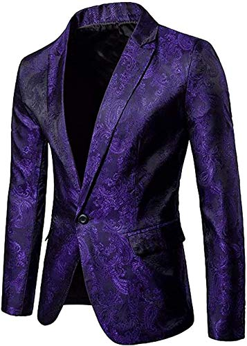SYTX Mens Fashion Print One Button Slim Fit Business Blazer Jacket Coat Suits