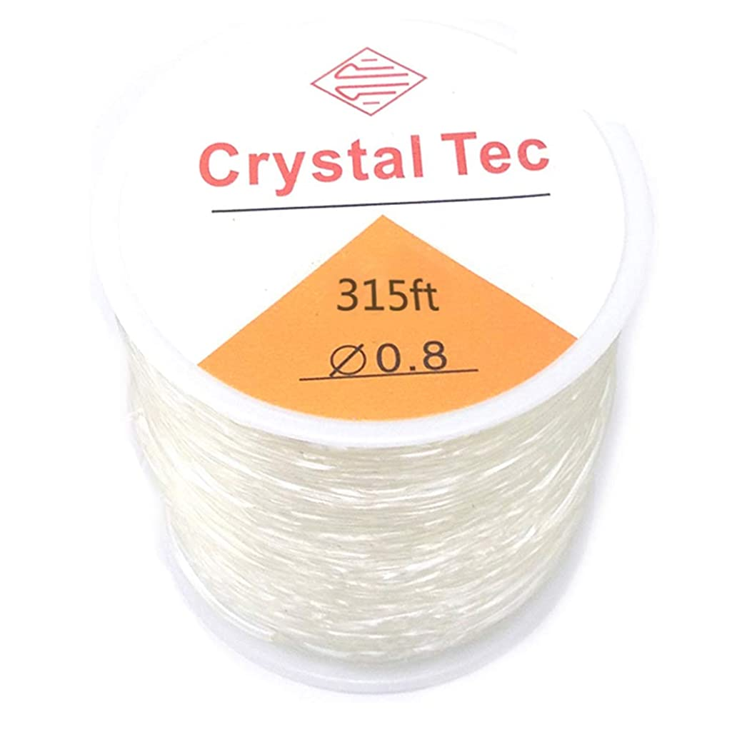 Mayared 0.8mm 105 Yard(315ft) Round Elastic Stretch Polyester Crystal String Cord for Jewelry Making Bracelet Beading Thread 1 roll (Clear White)