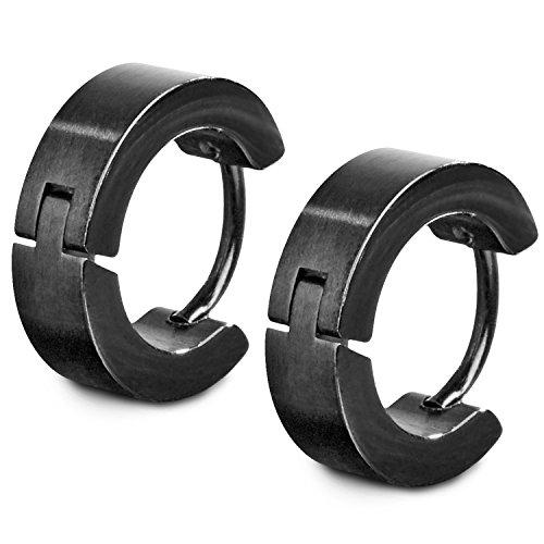 TED WILLIAMS Unisex Creolen Ohrringe aus Edelstahl, Breite 4 mm, Schwarz