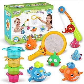 TIM 12PCS bath toys mold-free fishing game clockwork swimming whale water table swimming pool bath tub toy toddler baby c...