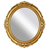 OMIRO Decorative Wall Mirror, Vintage Hanging Mirrors for Bedroom Living-Room Dresser Decor, Oval Antique Gold 13