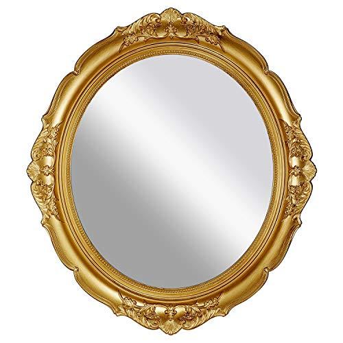 OMIRO Espejo de pared decorativo vintage tallado para dormitorio, salón, cómoda, ovalado, dorado envejecido, 33 cm de ancho x 38 cm de largo