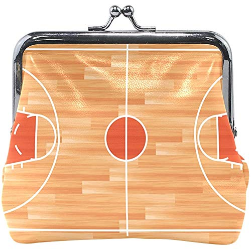 Muntportemonnee, houten parketvloer Basketbal Hof Muntportemonnees Premium portemonnees voor volwassen tieners kinderen, 11,5 (W) x10,5 (L) x3 (T) cm