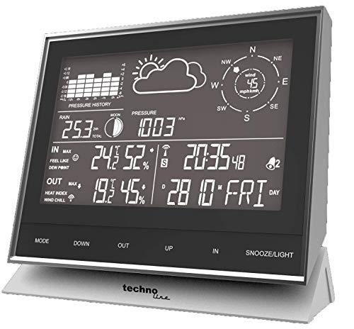 Technoline WS 1700 - Stazione meteorologica moderna con tutti i dati rilevanti sulla situazione meteo attuale, con utili funzioni aggiuntive, nero/argento, 153 x 53 x 138 mm