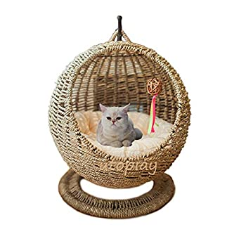 Handmade Cat Bed Seagrass Woven Cat House Creative Cat Hammock Fine Cat Nest Basket with Soft Cushion 60 x 46cm