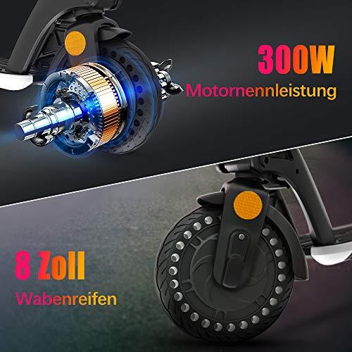 urbetter E-Scooter mit Straßenzulassung (eKFV), 300W Motor Herausnehmbarer Akku, Geschwindigkeit 25km/h, Bis zu 25-30km Reichweite, ABE-Zertifizierter Faltbar Elektroscooter für Erwachsene (Weiß) - 2