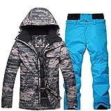 UJDKCF Conjuntos de Traje de esquí de Ropa de Nieve para Hombres Conjuntos de Invierno de Snowboard Chaquetas y Pantalones de Correa Picture Jacket Pant S