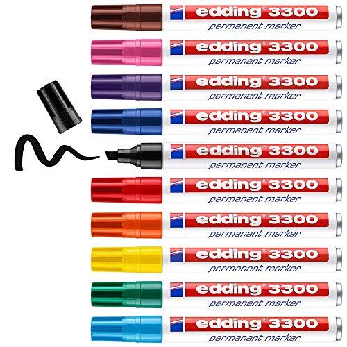 edding 3300 Permanentmarker - mehrfarbig - 10 Stifte - Keil-Spitze 1-5 mm - schnell trocknender Permanent Marker - wasserfest, wischfest - für Karton, Kunststoff, Holz, Metall - Universalmarker