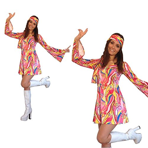 Retro Hippie Fancy Dress Costume Outfit for Women. Size 10-12. Boots not included.