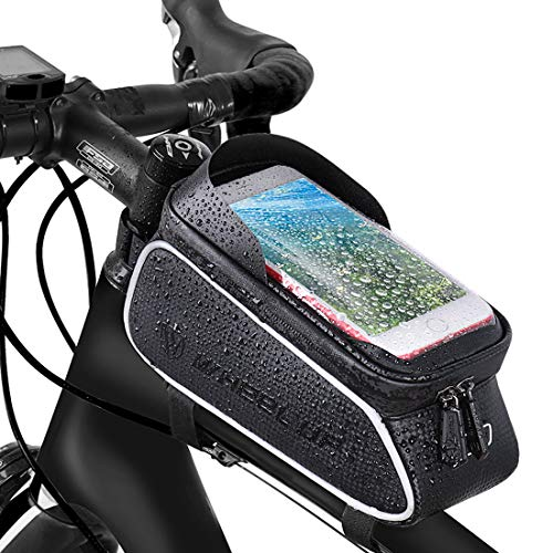 Bike Frame Bag, Bicycle Phone Holder, Waterproof Cycling Front Top Tube Pouch Bike Frame Phone Mount Pannier Crossbar Storage Bag for iPhone 11 Pro MAX XS MAX XR X 8 7 6 6S Plus Smartphone Below 6.5