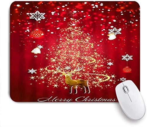 Mauspad abstrakt weihnachtsbaum weihnachten rentier schneeflocke bälle glitzer sterne fröhliches lustiges thema zinnoberrot rotgold angepasste mousepad rutschfeste gummibasis für computer laptop offic