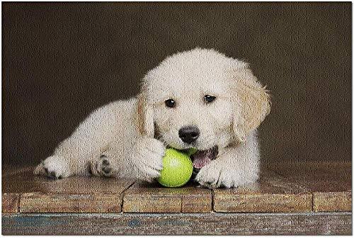 ZFSXmas Puzzle in Legno per Adulti e Bambini Cucciolo di Golden Retriever Che mastica su Una Palla Giocattolo VerdeGioco Fai-da-Te Regalo Antistress per Bambini (1000 Pezzi)
