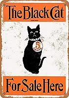 黒猫マガジン 金属板ブリキ看板警告サイン注意サイン表示パネル情報サイン金属安全サイン