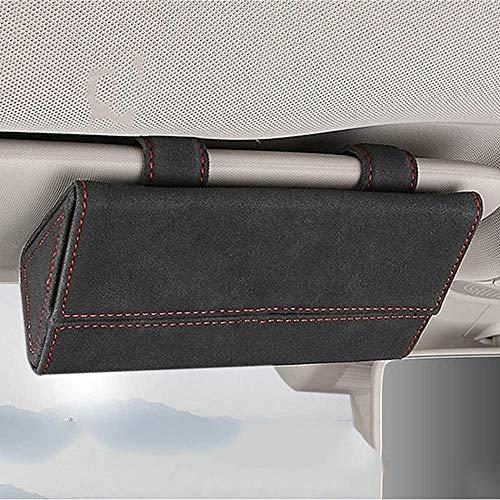 ZHAOHAOSC Brillenetui Auto Sonnenbrillen Aufbewahrungsauto Brillenetui Sonnenblende Brillenetui für Porsche-Schwarz