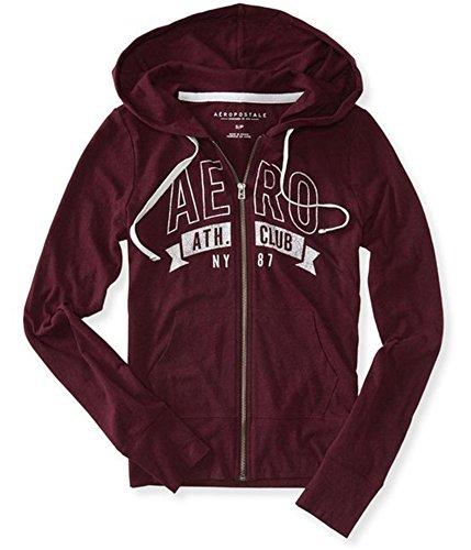 Aeropostale Womens Ath. Club NY87 Hoodie Sweatshirt 607 M Red/White
