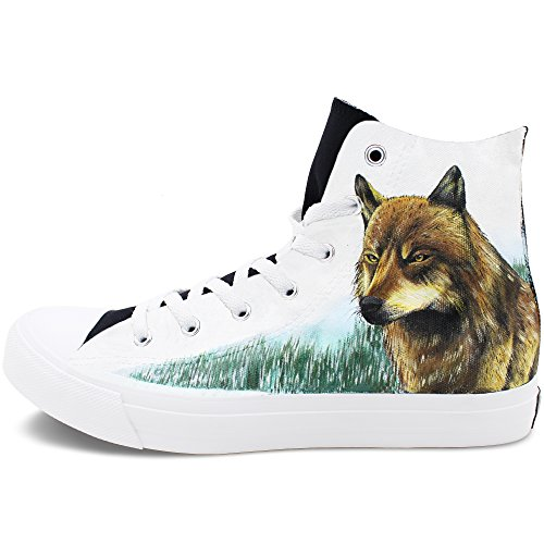 Wen Fire Hand-Painted Wolf Casual Shoes Hi-top Unisex Canvas...