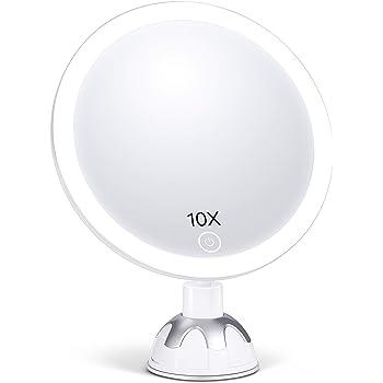 AEVO Miroir Grossissant 10X Lumineux pour Maquillage, Miroir de Beauté avec 30-LED [Reflet HD] [Gradation en Continu] [3 Modes d'éclairage] [360°Rotatif] [Facile à Installer] [2 façons d'Alimenter]