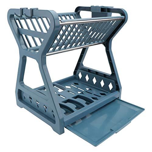 DOITOOL Estante de secado para platos de 2 niveles con escurridor, soporte para tabla de cortar con escurridor, color azul