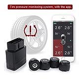Manomètre de Pression de Pneus OBD avec Système de Surveillance TPMS de Smartphone iOS Android 4 Capteurs Externes Bluetooth