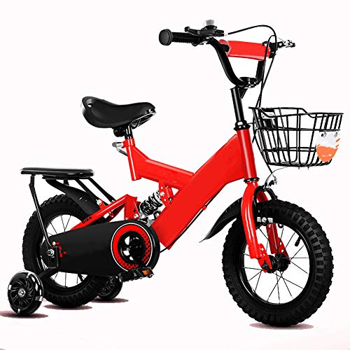 LRZ Children Bike 2-10 Years Old Bicycle Boy and Girl Pedal Mountain Bike with Training Wheels 12-18 Inch Outdoor Travel Bicycle Give Children The Best Gift, Red,12 inch