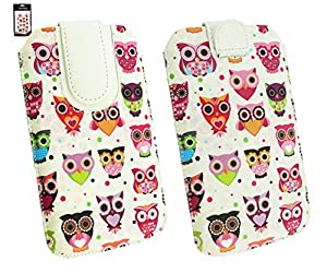Emartbuy® Huawei P8 Multi Coloured Owls Print Premium PU Leather Slide in Pouch Case Cover Sleeve Cover Holder (Size 4XL) With Pull Tab Mechanism