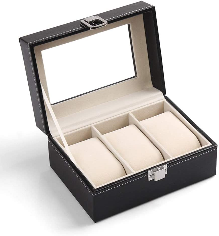 LUYIYI 3 Leather Watch Glass Display Packaging Sale item Box trust