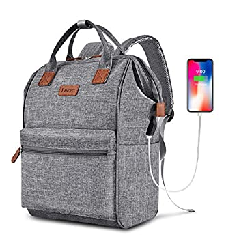 BRINCH Laptop Backpack 15.6 Inch Wide Open Computer Backpacks Laptop Bag College Rucksack Water Resistant Business Travel Backpack Multipurpose Casual Daypack with USB Charging Port for Women Men,Gray