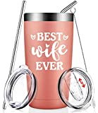 Best Wife Ever - Wife Gifts from Husband Romantic - Funny Birthday Gifts for Wife Lover Mom Women Her - Wine Tumbler with Straw Lid and Brush Rose Gold
