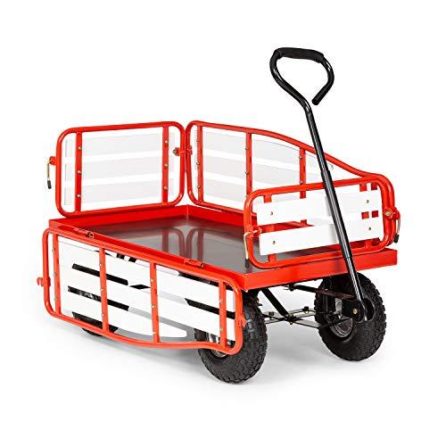 Waldbeck Ventura Handwagen Bollerwagen Einkaufswagen, extra breite Reifen: 9 cm, klappbare Seitenteile aus Wood-Plastic-Composite, Ladefläche: 50 x 100 cm / 0,5 m², Rahmenhöhe: 32 cm, rot
