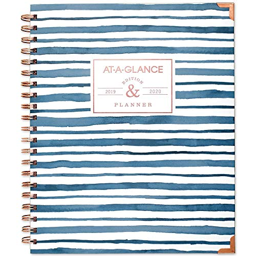 """AT-A-GLANCE 2019-2020 Academic Year Weekly & Monthly Planner, Large, 8-1/2"""" x 11"""", Hardcover, Badge, Stripes (6203S-905A)"""