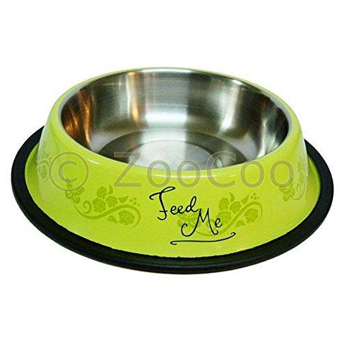 Edelstahl Futternapf Wassernapf mit Gummiring Hunde Katze Napf Freßnapf gelb (0.2 l)