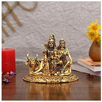 NOBILITY Handcrafted Shiva Parvati Ganesh Idol Shiv Parivar Murti Statue Sculpture Hindu Lord Shiva Idols Family Sitting On Nandi Showpiece Figurine for Home Office Temple Mandir Decoration