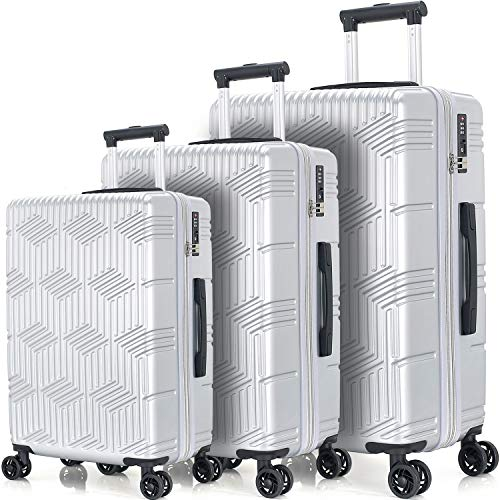 Merax Luggage Set Expandable 3 Piece Sets with TSA Lock, Lightweight Hardside Luggage with Spinner Wheels [X-Cellection] (Silver)