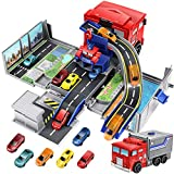 Geyiie Carrier Truck Toy, Big Truck Transport Car Vehicle Transformer Parking Lot Race Tracks with 6 Pcs Diecast Metal Car, Take Apart Toys Car Durable Garage Playset for Boys, Kids, Toddler