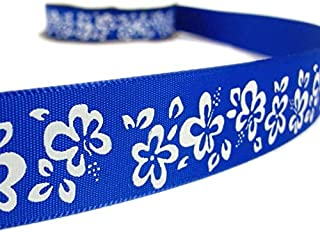 5 Yards Royal Blue White Hibiscus Flower Tropical Ribbon Lace Trim Embroidery Applique Fabric Delicate DIY Art Craft Supply for Scrapbooking Gift Wrapping 7/8