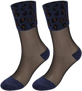 HLD, HLD Tubo de Vidrio de Moda Calcetines Mujer Negro de Seda de Costura Brillantes Medias de Seda Anti-Gancho Resistentes al Desgaste de Tarjetas de Calcetines de Seda Femeninos Calcetines (Color : G)