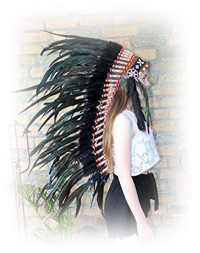 Hejoka-Shop Indianer Kopfschmuck Medium Federhaube 100 cm. lang Schwarze Federn Federschmuck Unikat handgefertigt Fasching Fotoshooting