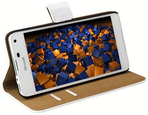 mumbi Tasche Bookstyle Case kompatibel mit Microsoft Lumia 650 Hülle Handytasche Case Wallet, Weiss