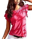 TrendiMax – Camiseta de Manga Corta para Mujer, Cuello Redondo, Monocromo, Camiseta de Verano Rosa Rojo. XL