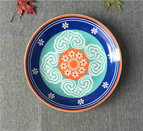 LMMJYF 8 Zoll exotische handbemalte marokkanische Italien Bohemian Style Teller Bunte Salatteller Speisen runde Dekoration Teller Geschenke-3