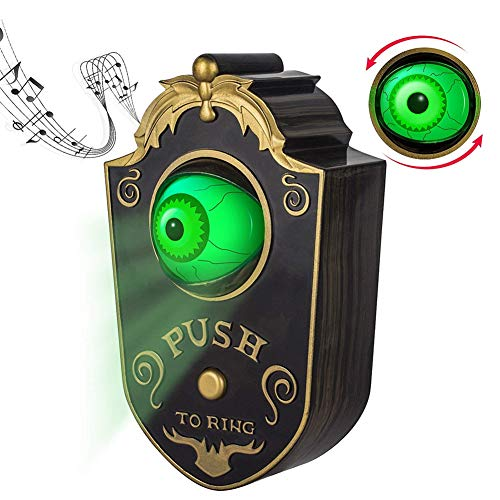 1pc Halloween Door Bell Decorations Animated Eyeball Door Bell Decorations Outside Scary Light Up Witch Prop for Party Haunted House